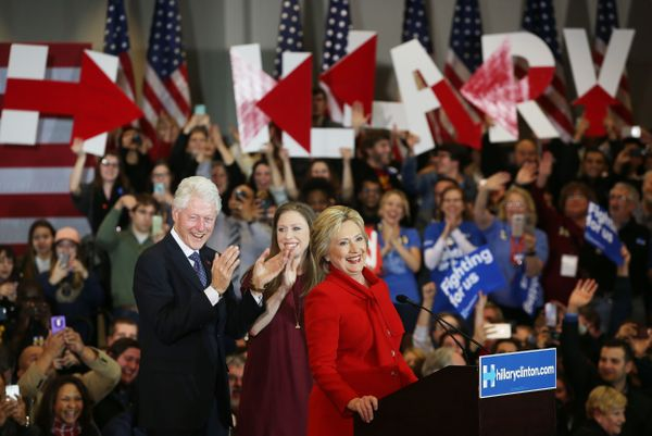 Democratic presidential candidate former Secretary of State Hillary Clinton speaks to supporters as Former U.S. president Bil
