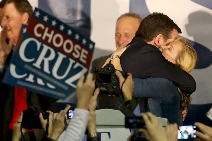 Sen. Ted Cruz hugs his wife, Heidi