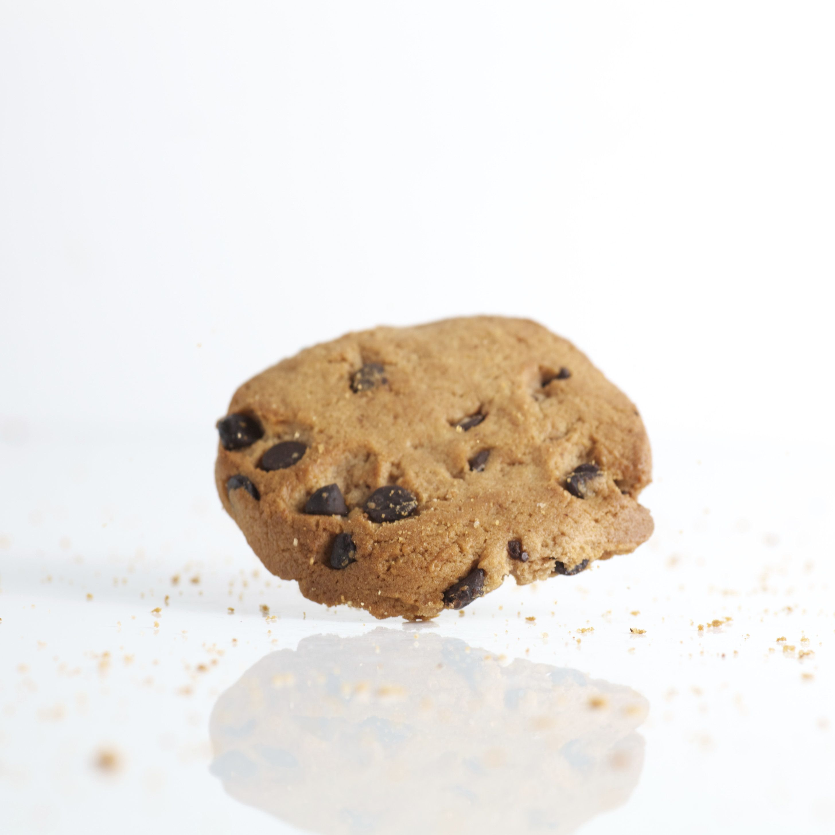 Chocolate chip cookie on white backgroud.
