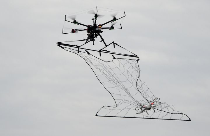 Police in Japan have also been using nets to snag rogue drones.