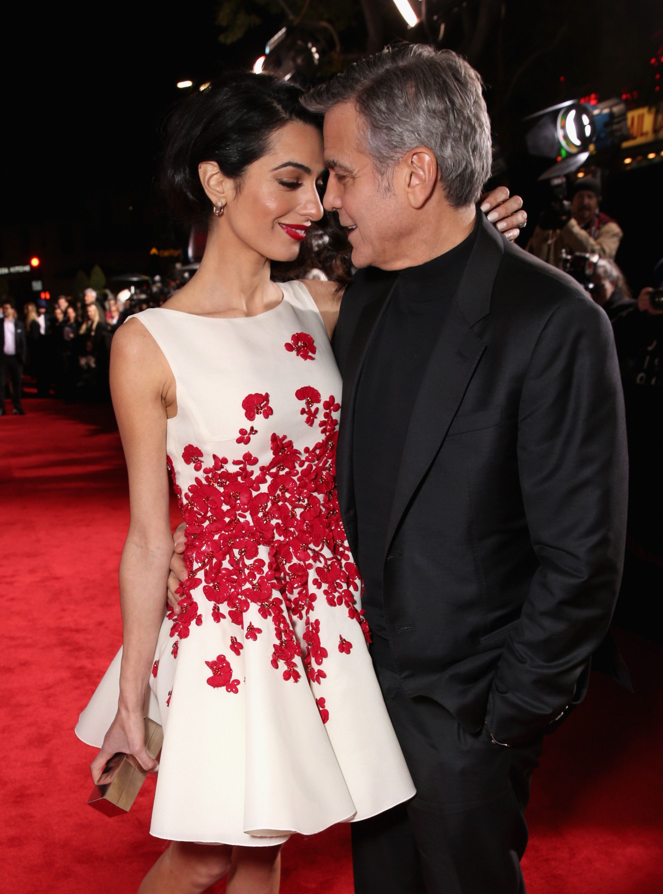 WESTWOOD, CA - FEBRUARY 01:  Actor George Clooney (R) and Amal Clooney attend Universal Pictures' 'Hail, Caesar!' premiere at Regency Village Theatre on February 1, 2016 in Westwood, California.  (Photo by Todd Williamson/Getty Images)