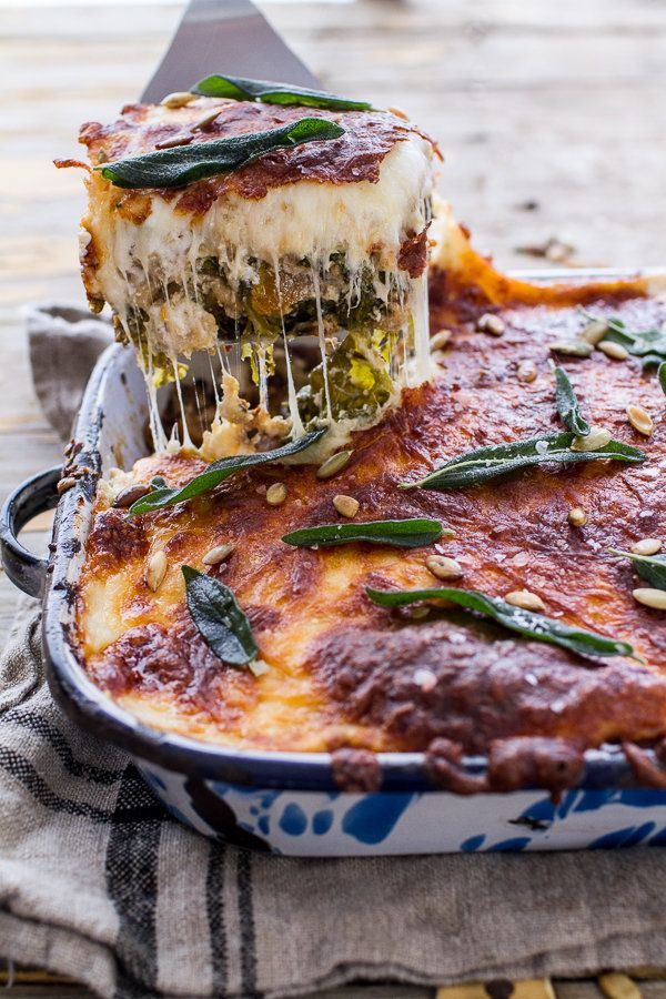 "<strong>Get the <a href=""http://www.halfbakedharvest.com/simple-caramelized-butternut-squash-kale-florentine-lasagna/"" target"