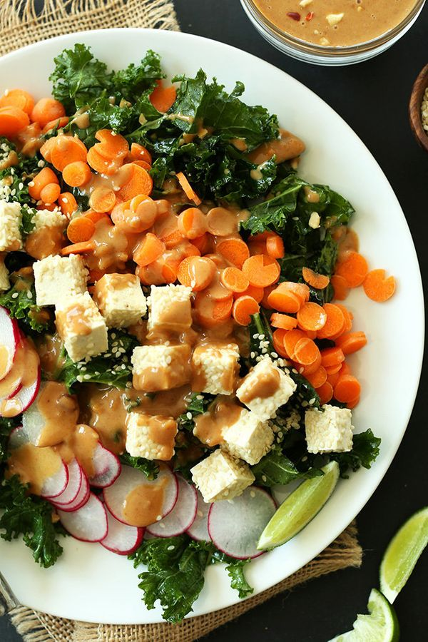 "<strong>Get the <a href=""http://minimalistbaker.com/crunchy-thai-kale-salad/"" target=""_blank"">Crunchy Thai Kale Salad recipe<"