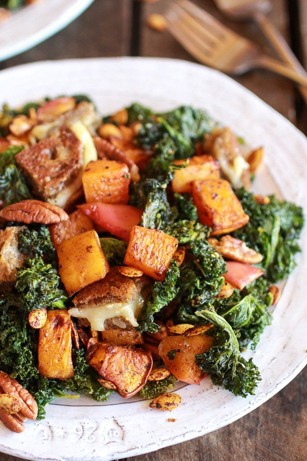 "<strong>Get the <a href=""http://www.halfbakedharvest.com/crispy-kale-roasted-autumn-salad-brie-grilled-cheese-croutons/"" targ"