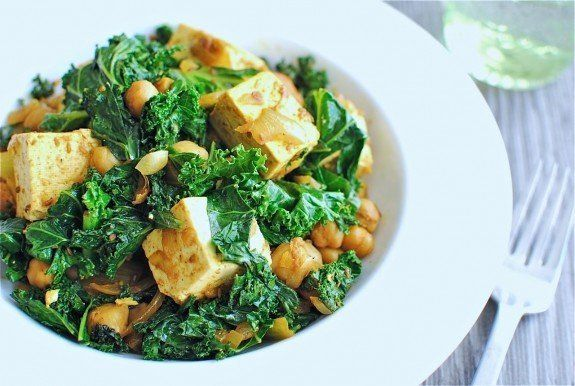 "<strong>Get the <a href=""http://bevcooks.com/2011/11/quick-curried-chickpeas-with-tofu-and-kale/"">Quick Curried Chickpeas wit"