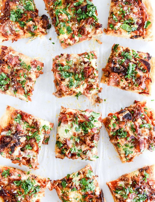 """<strong>Get the <a href=""""http://www.howsweeteats.com/2014/12/meat-lovers-pizza/"""" target=""""_blank"""">Meat Lovers Pizza recipe</a>"""