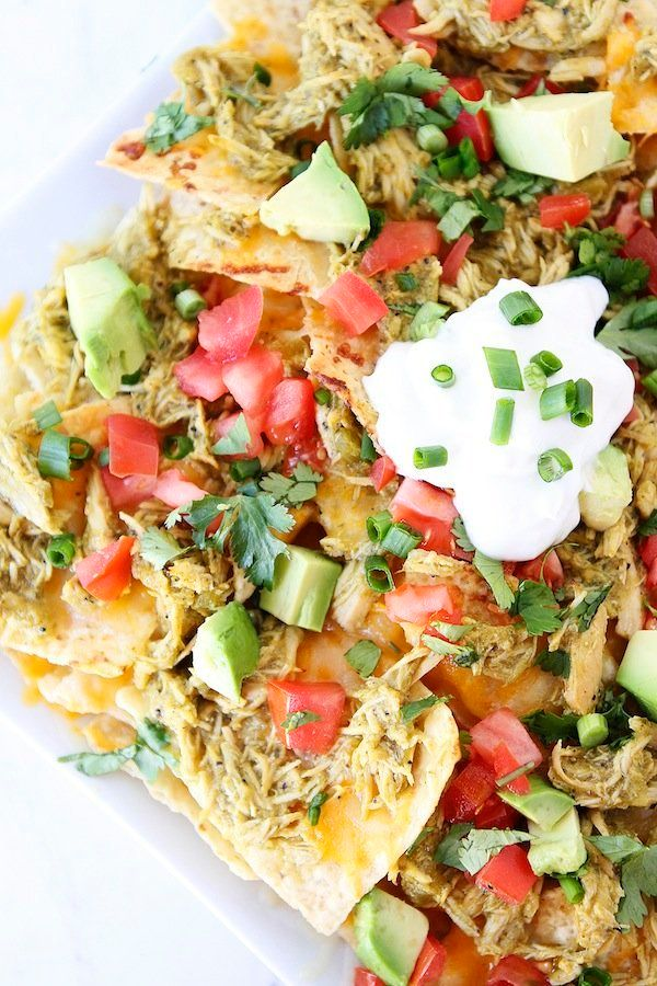 """<strong>Get the <a href=""""http://www.twopeasandtheirpod.com/slow-cooker-chicken-chile-verde-nachos/"""" target=""""_blank"""">Slow Cook"""
