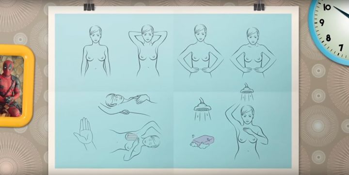 A quick how-to guide shows women how they can screen themselves for breast cancer.