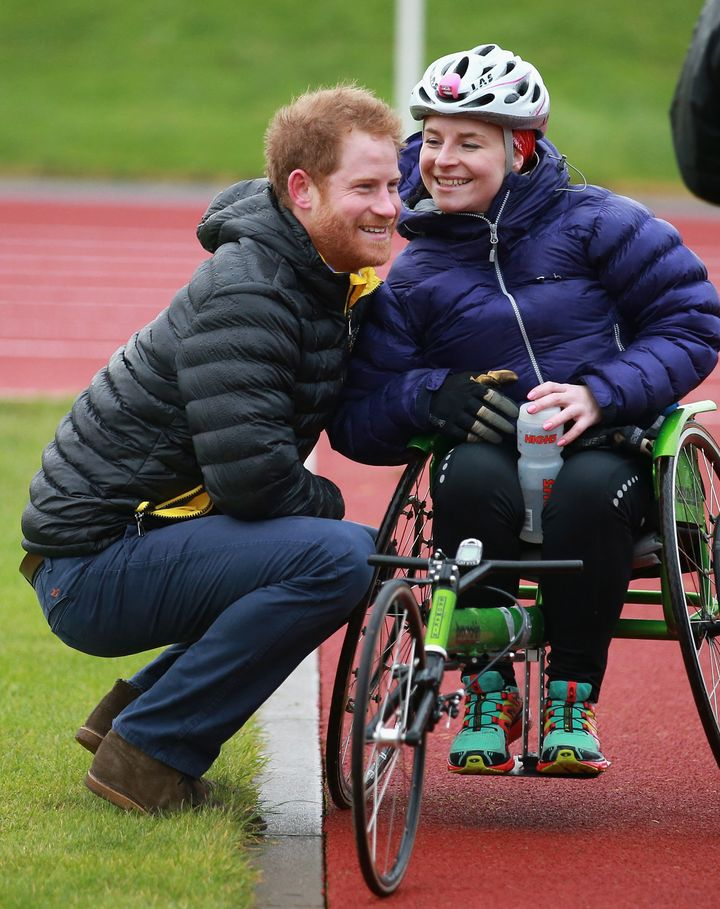 Prince Harry chats it up with Anna Pollock.