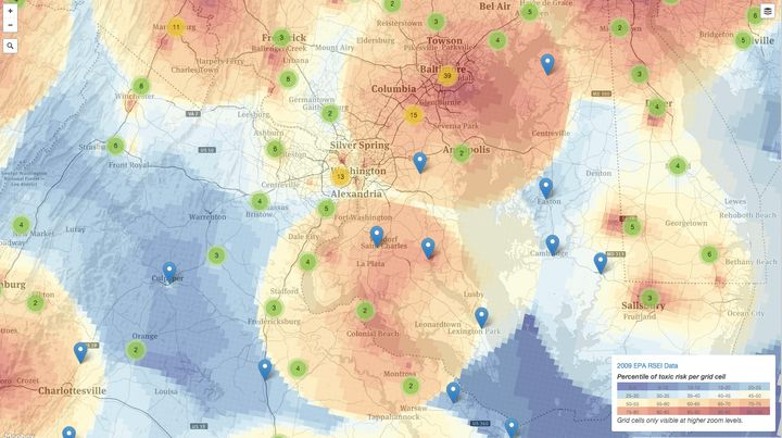 A heat map showing the locations of industrial polluters.