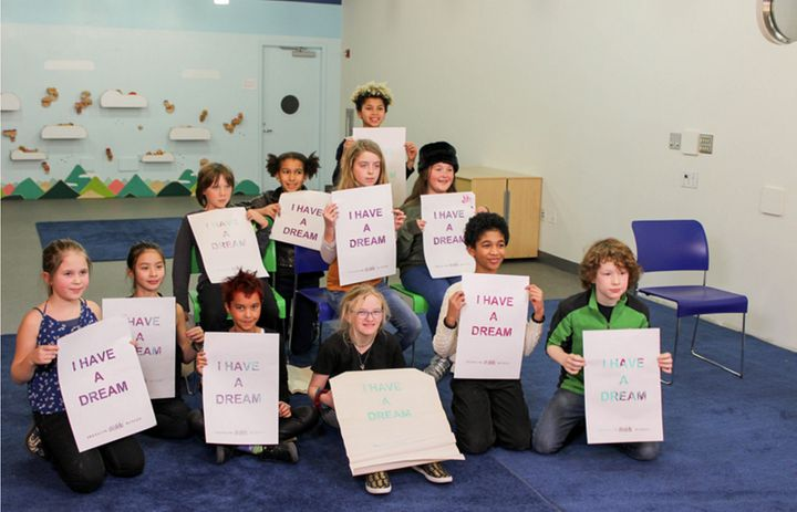 """The #HatchKids hold up signs that read """"I Have A Dream"""""""