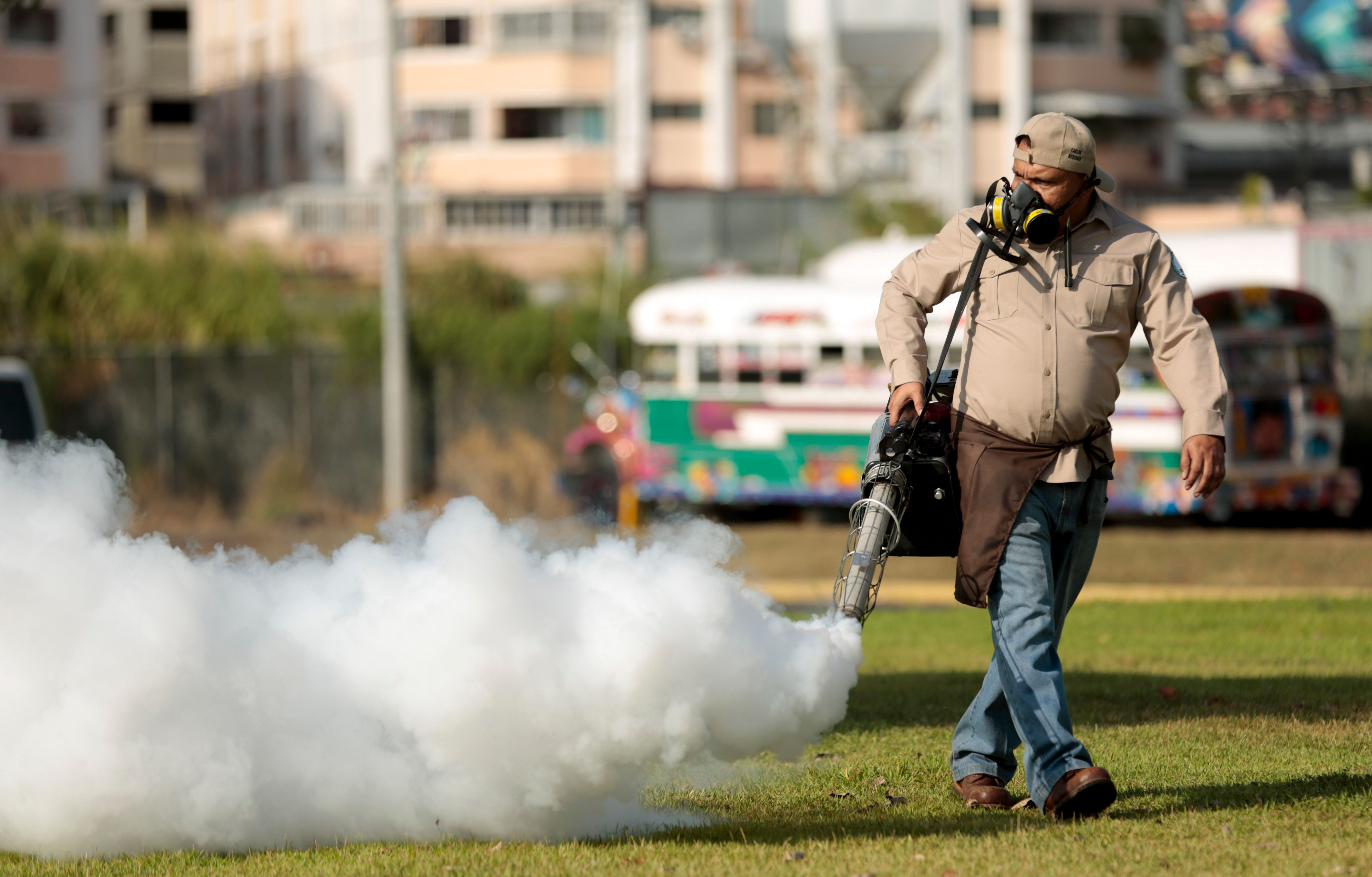 A worker fumigates for <i>Aedes aegypti</i> mosquitoes where carnival celebrations will be held in Panama City. Authorities announced on Monday that 50 cases of the Zika virus infection have been detected in Panama's sparsely populated Guna Yala indigenous area along the Caribbean coast.