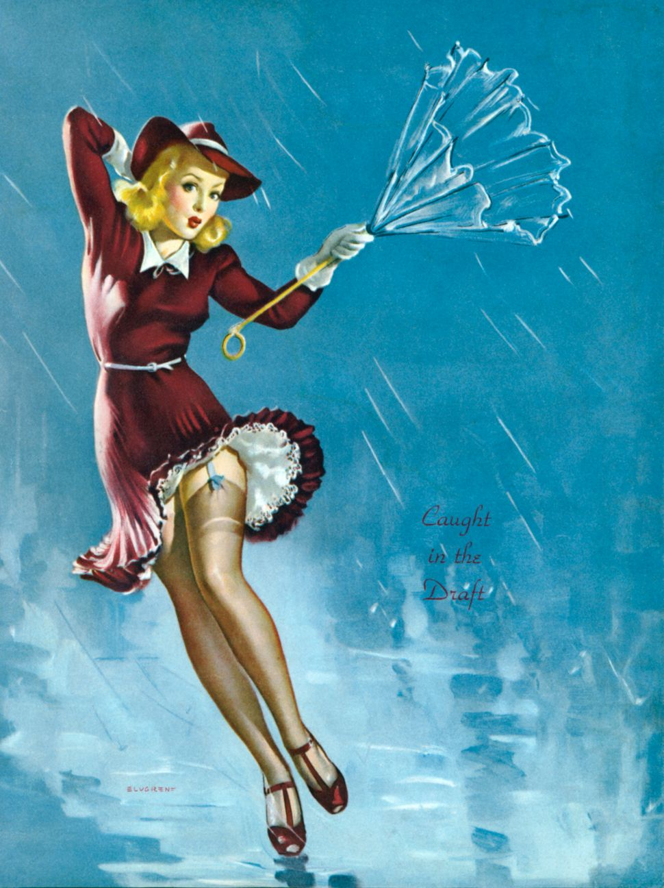 """One of famed pin-up artist Gil Elvgren's paintings, c. 1940, titled """"Caught in the Draft."""""""