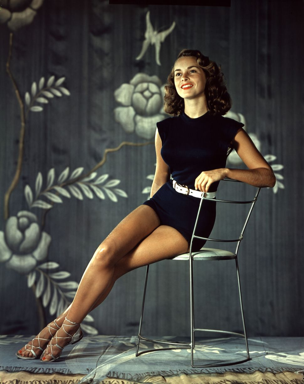 Portrait of the American actress Janet Leigh in pin-up attire in the 1960s.