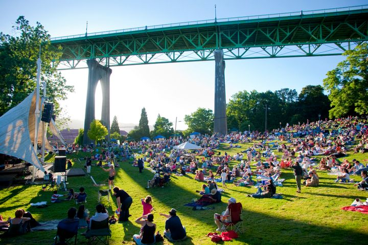 Festival in Cathedral Park, below the St. Johns Bridge in the St. Johns neighborhood of North Portland.