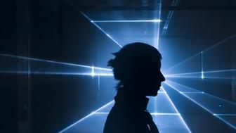 silhouette of woman in front of laser light projection