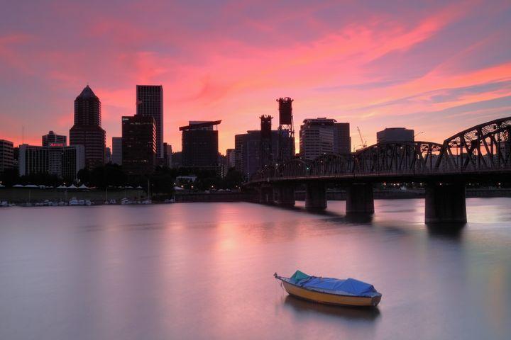 Portland Skyline and Hawthorne Bridge at sunset.