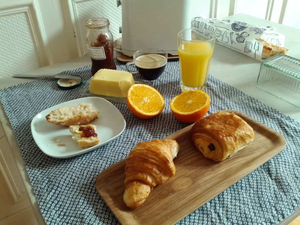 """In France, breakfast revolves around butter. The most common breakfast is a fresh baked baguette, salted butter, marmalade,"