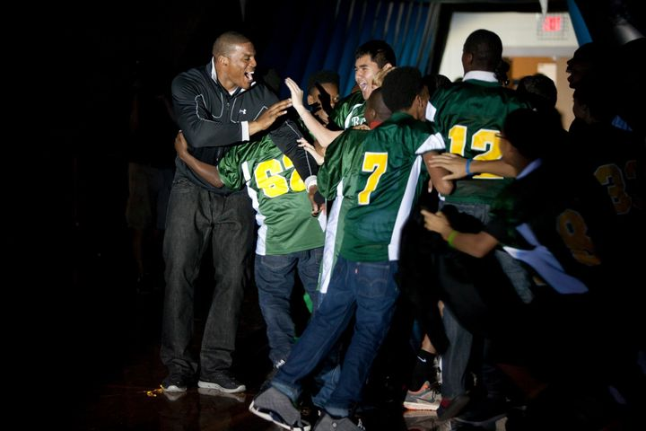 Cam Newton at a Cam Newton Foundation School Pride Program at Randolph Middle in 2012.