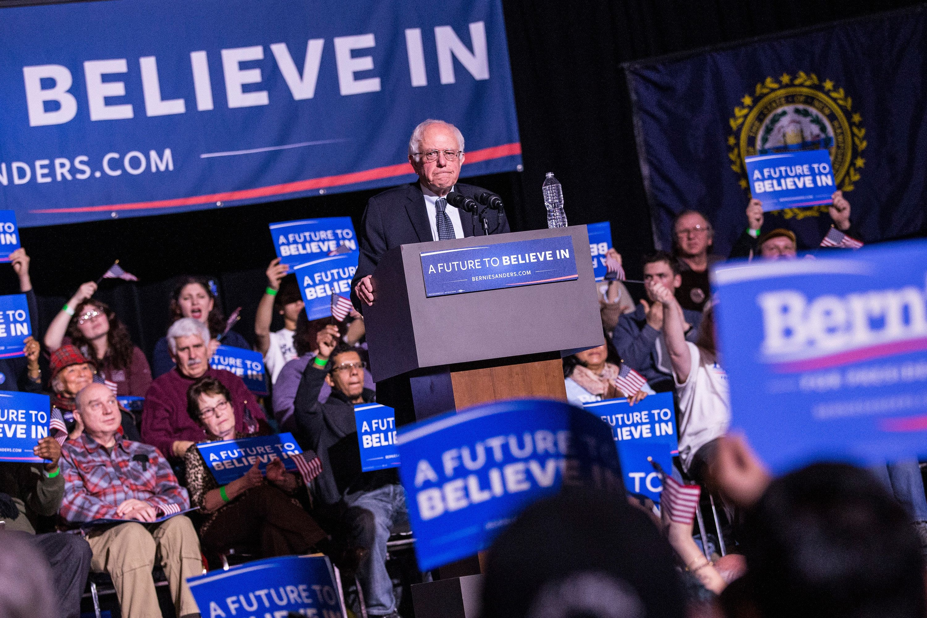 KEENE, NH - FEBRUARY 02:  Democratic Presidential candidate Sen. Bernie Sanders (I-VT) speaks at a 'Get Out the Vote' rally at the Colonial Theater on February 2, 2016 in Keene, New Hampshire. Sanders is in New Hampshire campaigning ahead of the state's primary on February 9.  (Photo by Andrew Burton/Getty Images)