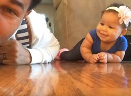 This Dad Is Teaching His Daughter To Crawl With A Special Soundtrack