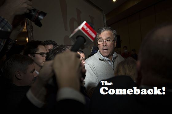 Jeb Bush, former governor of Florida and 2016 Republican presidential candidate, speaks to members of the media and attendees while leaving a campaign event in Des Moines, Iowa, U.S., on Monday, Feb. 1, 2016. Bush emphatically embraced his family's political legacy ahead of the Iowa caucuses as his presidential campaign collected endorsements from a trio of former governors.