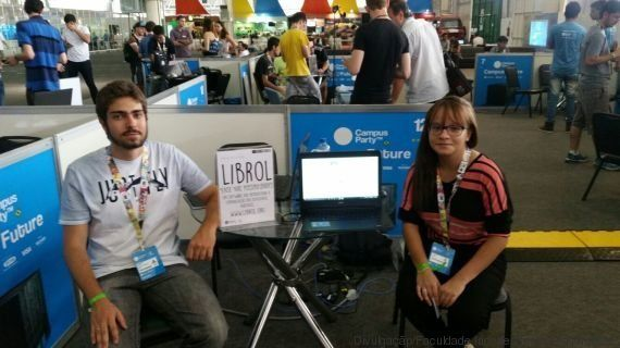 Andrew Ivo, left, and Raira Carvalho, right, are two of the creators of Librol, a translation software that renders standard