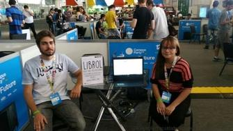 Raira Carvalho and Andrew Ivo at the Campus Party in Sao Paulo.