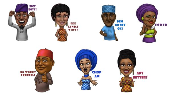 A sampling of the over 300 available Afro Emojis.