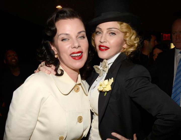 """Mazar poses with her pal, Madonna, at the 2013 premiere of""""Madonna: The MDNA Tour"""" in 2013."""