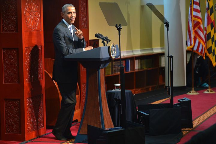 President Barack Obama speaks at the Islamic Society of Baltimore Feb. 3, 2016 in Windsor Mill, Maryland.