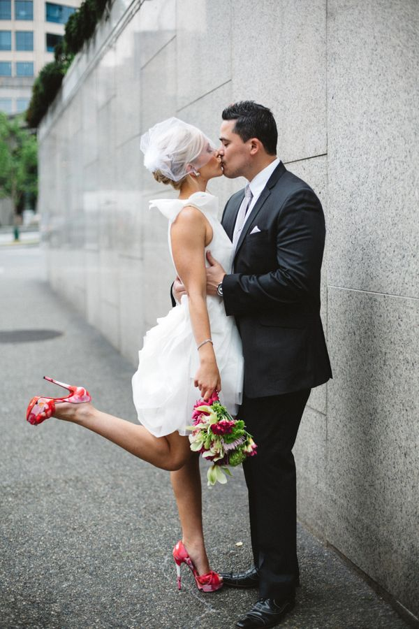28 times brides sported short dresses and looked damn good for Simple white dress for civil wedding