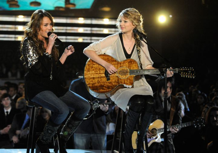 Miley Cyrus and Taylor Swift perform at the 51st Annual GRAMMY Awards at the Staples Center on Feb. 8, 2009, in Los Angeles,