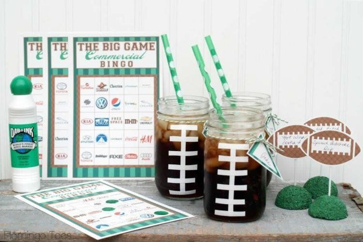 Master this adorable DIY by Flamingo Toes by using tape to create football laces for your mason