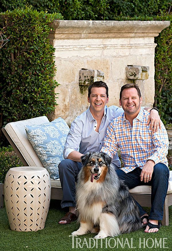 Hayes and his husband Scott Icenogle pictured together in their extremely well-manicured backyard.