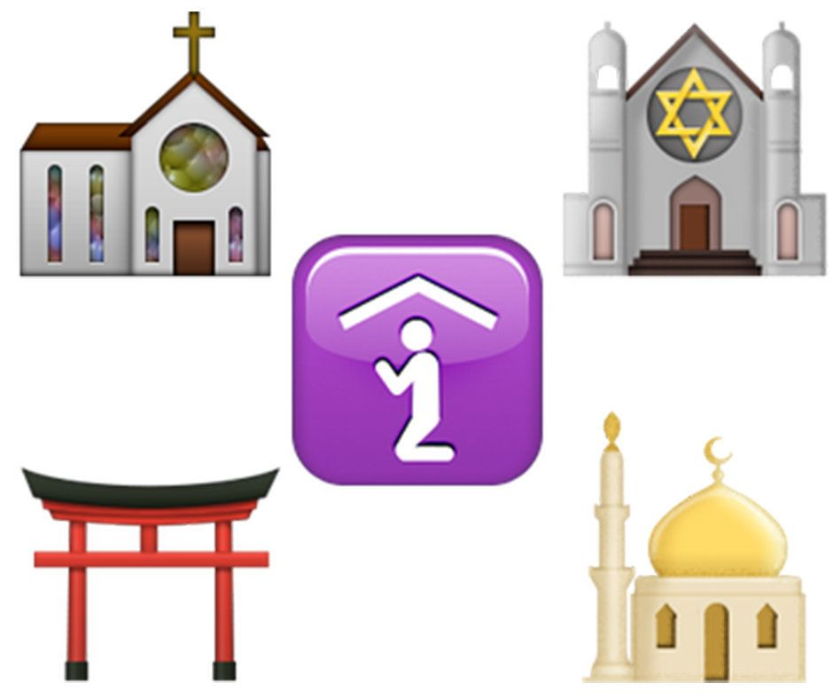 Unicode includes emojis of a church, synagogue, mosque and a Shinto shrine. There's also an icon that symbolizes a generic&nb