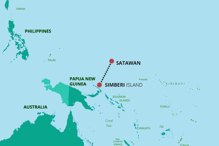 After 41 days at sea, the castaways washed ashore at Satawan Atoll, about 600 miles from where they set sail.