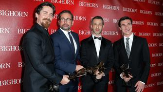 PALM SPRINGS, CA - JANUARY 02:  (L-R) Actors Christian Bale, Steve Carell, Jeremy Strong and Finn Wittrock pose with the Ensemble Performance Award for 'The Big Short' during the 27th Annual Palm Springs International Film Festival Awards Gala at Palm Springs Convention Center on January 2, 2016 in Palm Springs, California.  (Photo by Jeff Vespa/Getty Images for PSIFF)