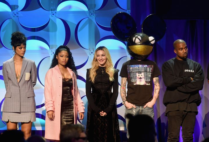 Rihanna, Nicki Minaj, Madonna, Deadmau5 and Kanye West attend the 2015 launch of Tidal.