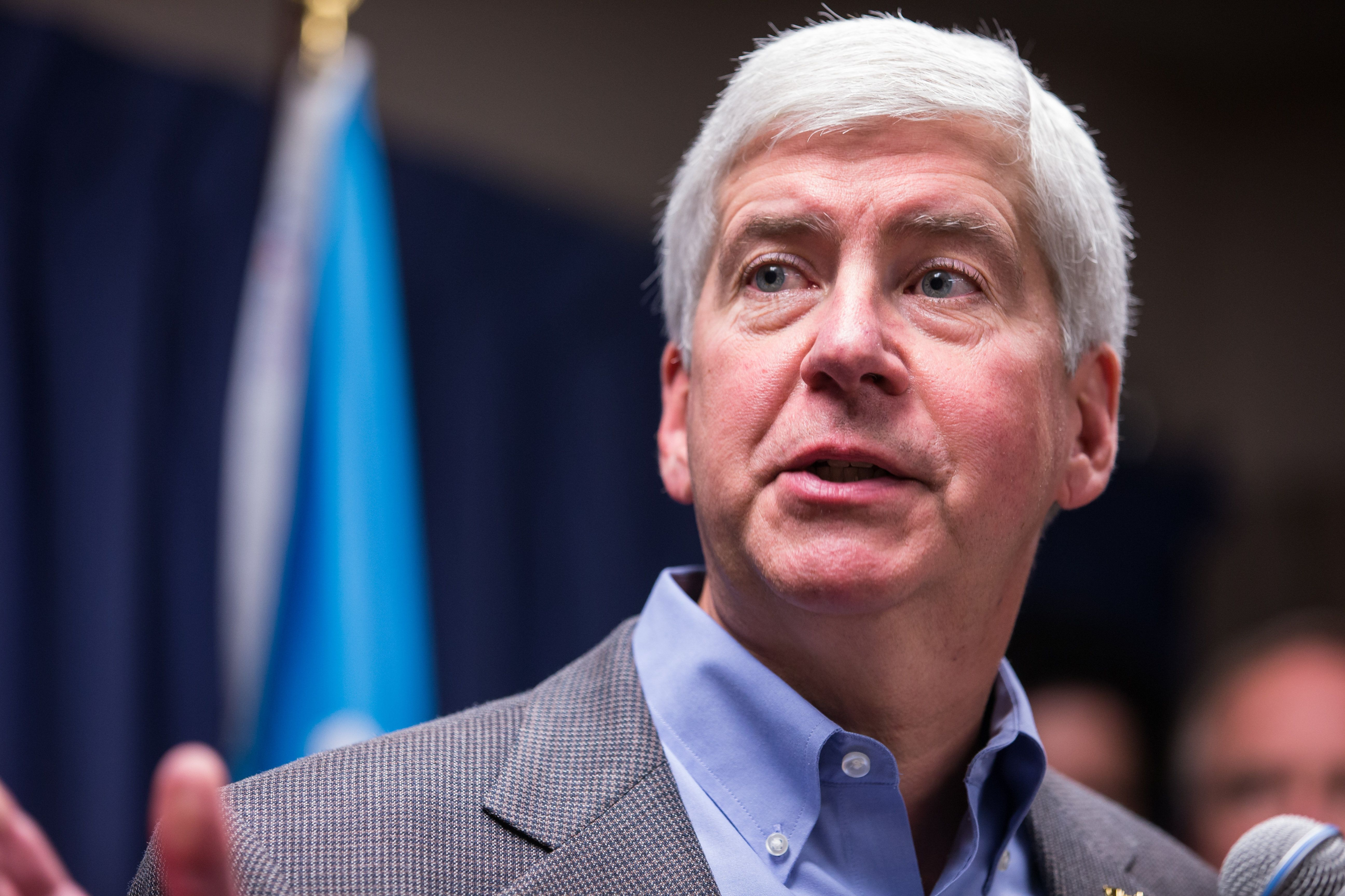 Michigan Gov. Rick Snyder speaks to the media regarding the status of the Flint water crisis on Jan. 27 at Flint City Ha