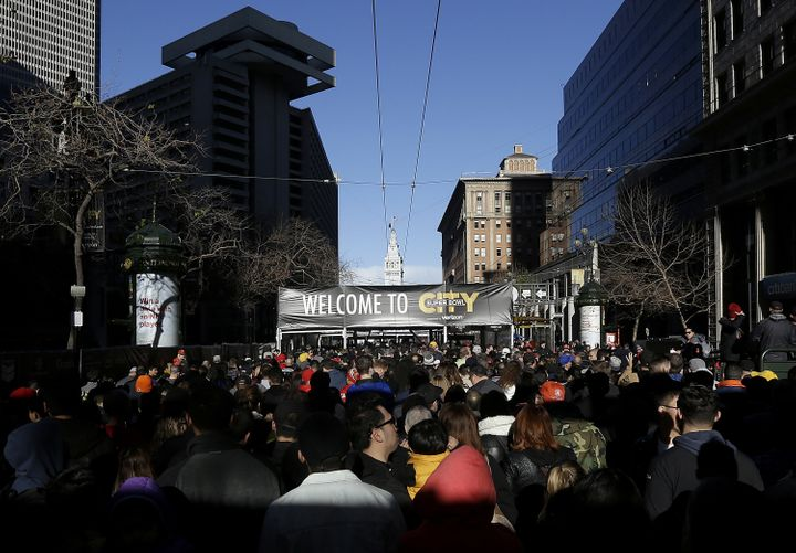 """""""Super Bowl City"""" has taken over a large part of downtown San Francisco -- and forced homeless residents to relocate."""