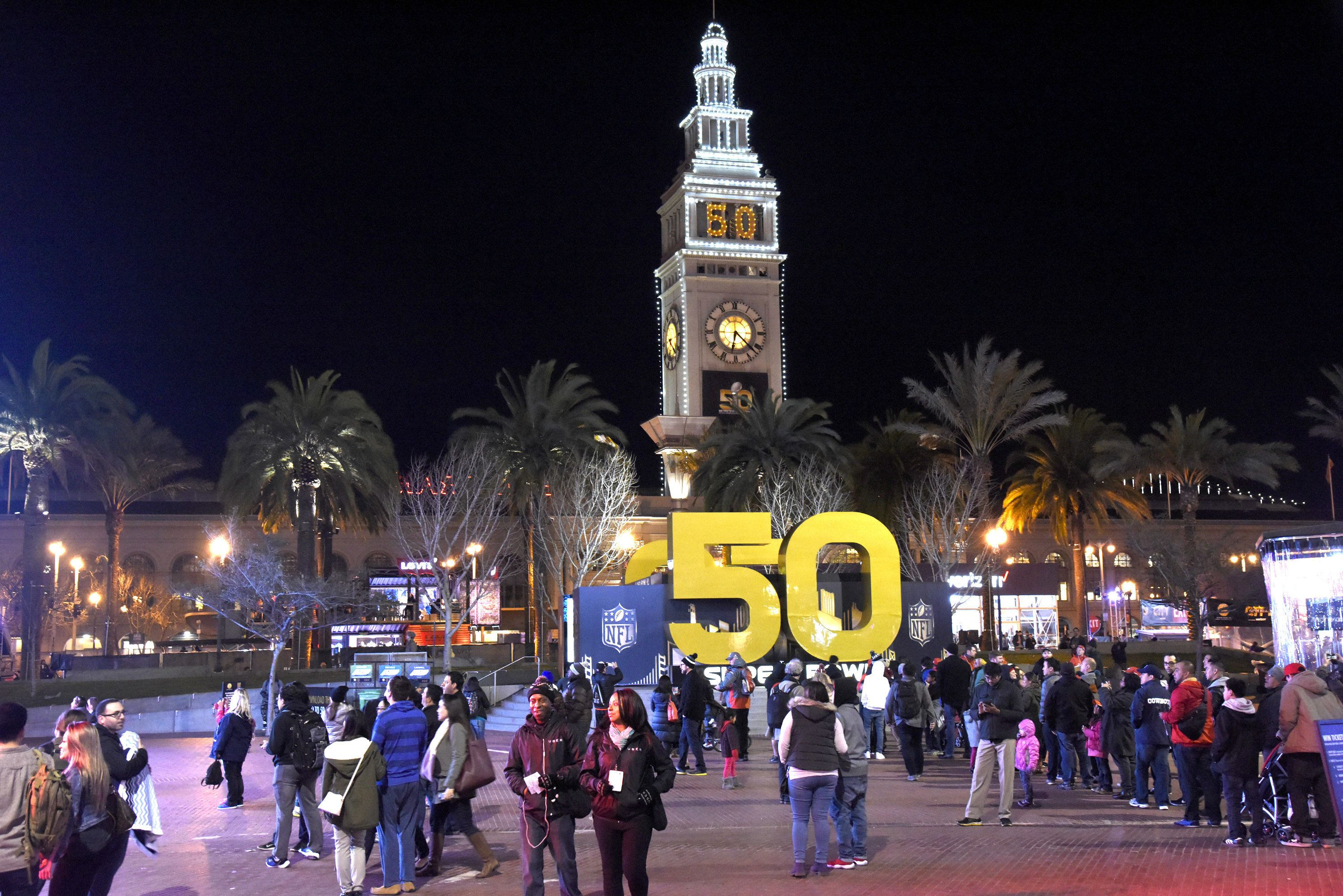 Many homeless people typically occupy Justin Herman Plaza, now the center of SF's Super Bowl festivities.