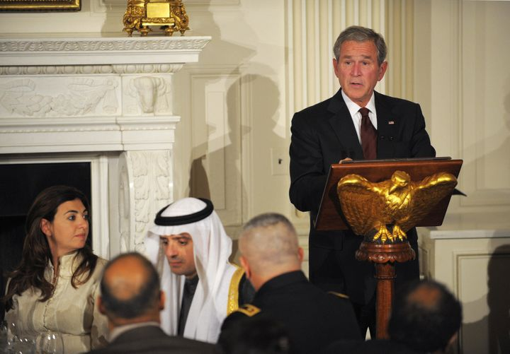 President George W. Bush speaks during an iftar dinner with ambassadors and Muslim leaders, Sept. 17, 2008.