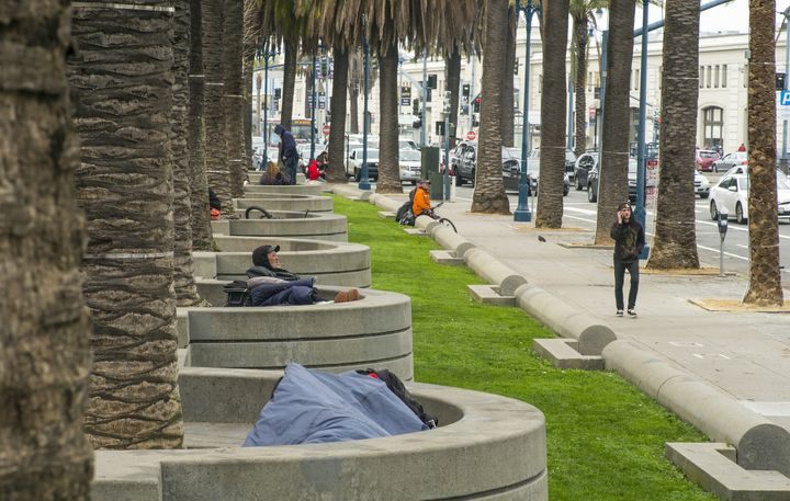 The homeless people who normally occupy San Francisco's Embarcadero have been forced to leave.
