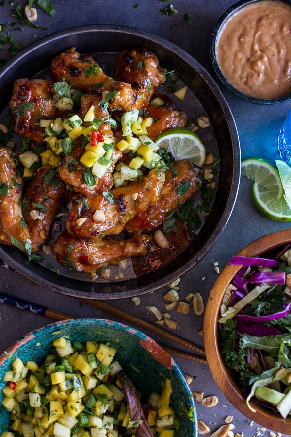 """<strong>Get the <a href=""""http://www.halfbakedharvest.com/thai-peanut-chicken-wings-fiery-pineapple-jalapeno-salsa/"""" target=""""_"""