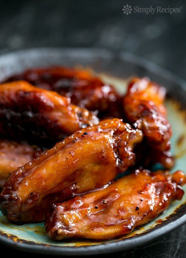 """<strong>Get the <a href=""""http://www.simplyrecipes.com/recipes/bourbon_maple_glazed_chicken_wings/"""" target=""""_blank"""">Bourbon Ma"""