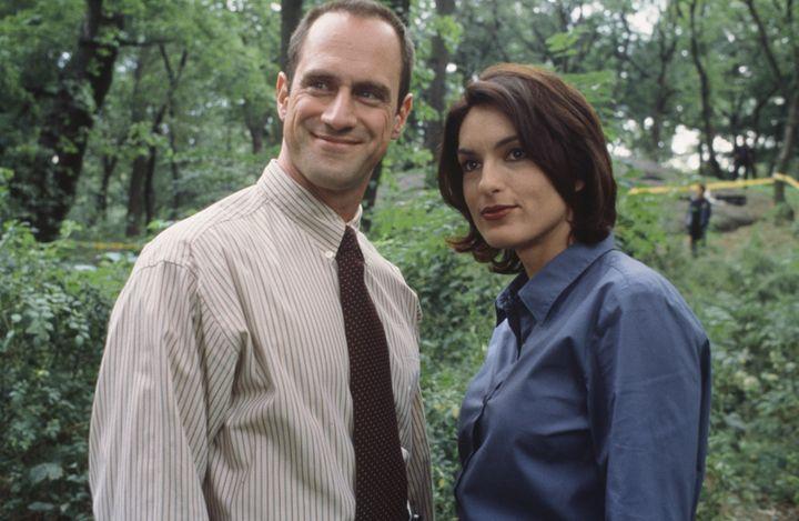 Christopher Meloni as Detective Elliot Stabler, Mariska Hargitay as Detective Olivia Benson.