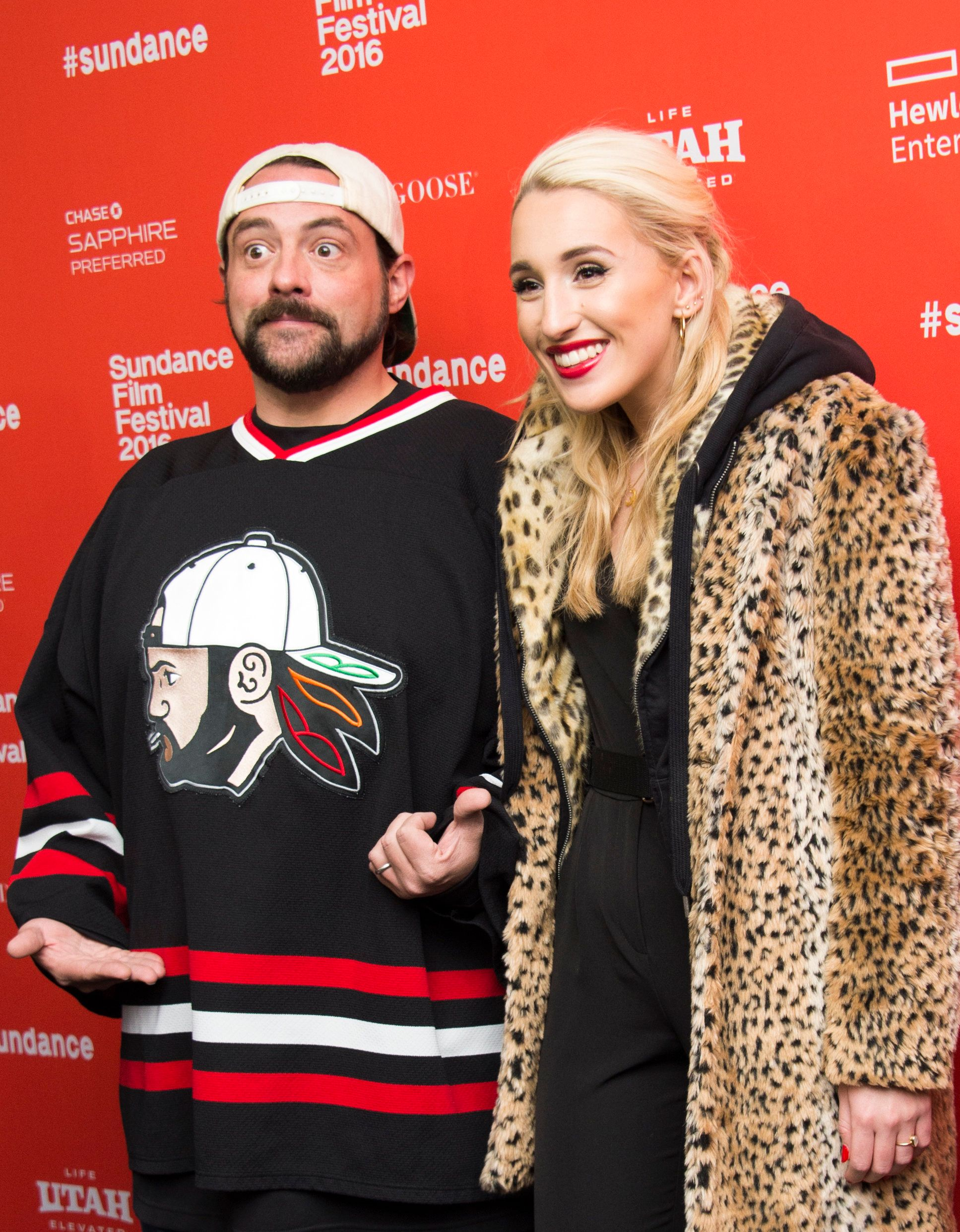 Director Kevin Smith and his daughter, actress Harley Quinn Smith attend Yoga Hosers Premiere at Sundance Film Festival in Park City, Utah, January 24, 2016. / AFP / Valerie MACON        (Photo credit should read VALERIE MACON/AFP/Getty Images)