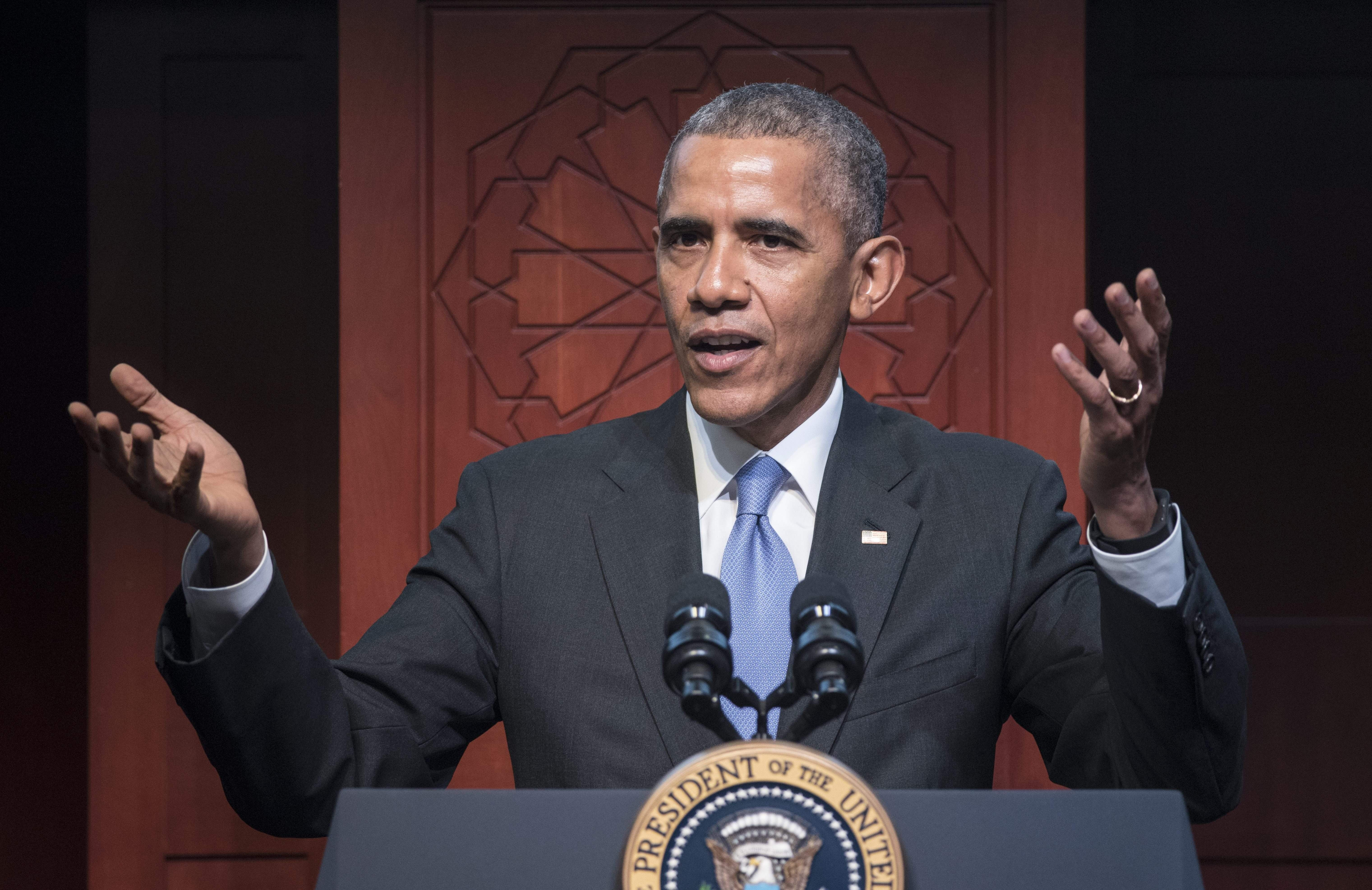 US President Barack Obama speaks at the Islamic Society of Baltimore, in Windsor Mill, Maryland on February 3, 2016. Obama offered an impassioned rebuttal of 'inexcusable' Republican election rhetoric against Muslims Wednesday, on his first trip to an American mosque since becoming president seven years ago. / AFP / MANDEL NGAN        (Photo credit should read MANDEL NGAN/AFP/Getty Images)