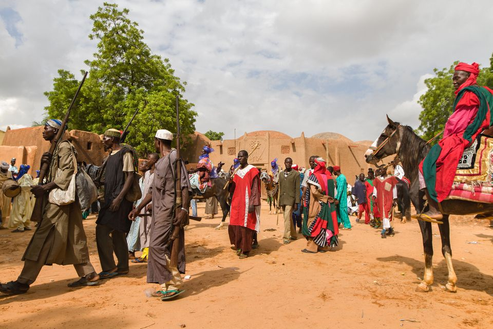 People celebrate Sallah with a horse parade in Arungu, Kebbi state.